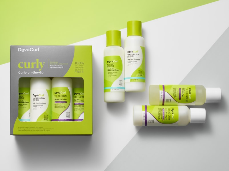 curls on the go kit with bottles outside of box