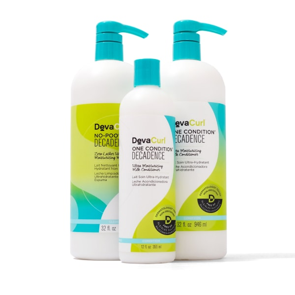 DevaCurl Decadence cleanser and conditioner liters with One Condition decadence 12oz bottle