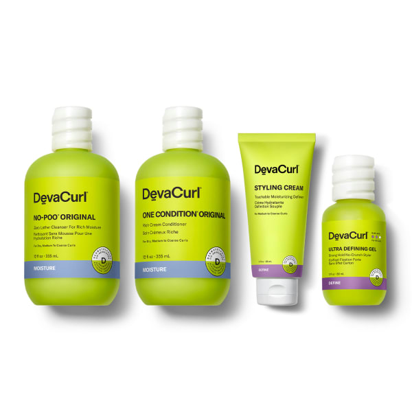 DevaCurl Original Cleanser and Conditioner, Styling Cream tube and Ultra Defining Gel bottle