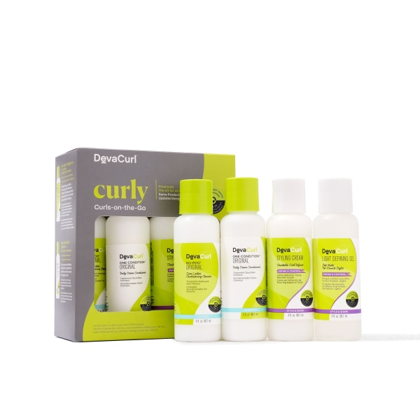 DevaCurl curls on the go kit with contents outside box