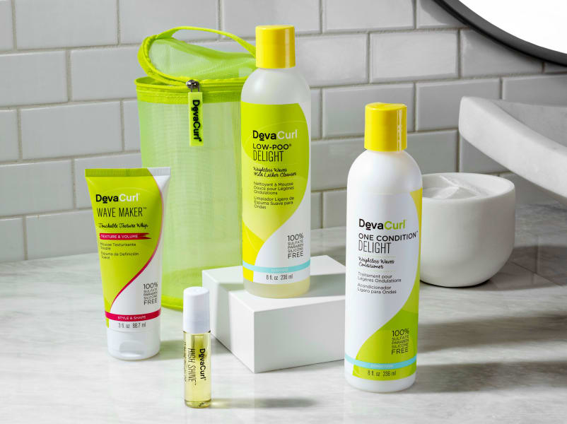 delight cleanser & conditioner, wave maker, high shine mini and mesh travel case