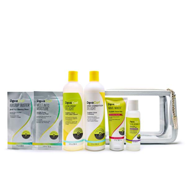 wavy routine kit with DevaCurl travel case