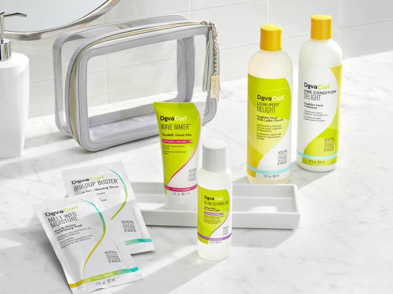 white devacurl travel case and kit