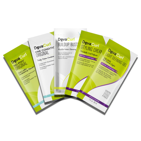 5 Packettes: No Poo & One Condition Original, Buildup Buster, Styling Cream and Light Defining Gel