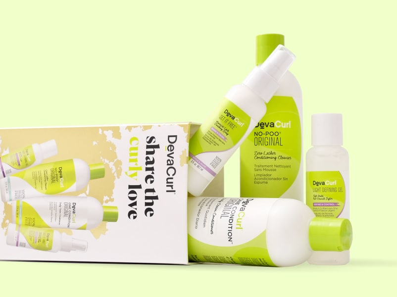 DevaCurl share the curl love holiday kit with products spilling out