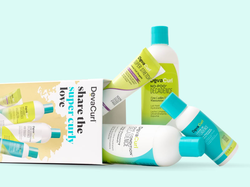 DevaCurl share the super curly love holiday kit with products spilling out