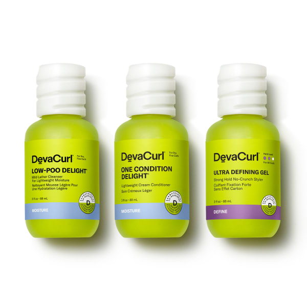 3oz bottles of Delight cleanser, conditioner and Light Defining Gel