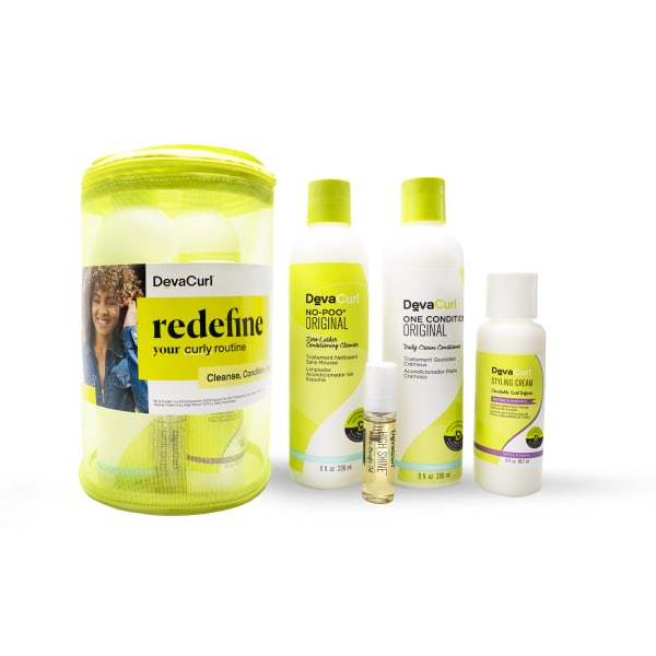 curly kit with original cleanser and conditioner bottles, stylers + mesh bag