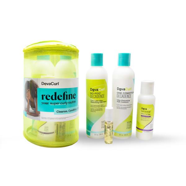 Decadence cleanser, conditioner bottles, SuperCream, High Shine + mesh bag