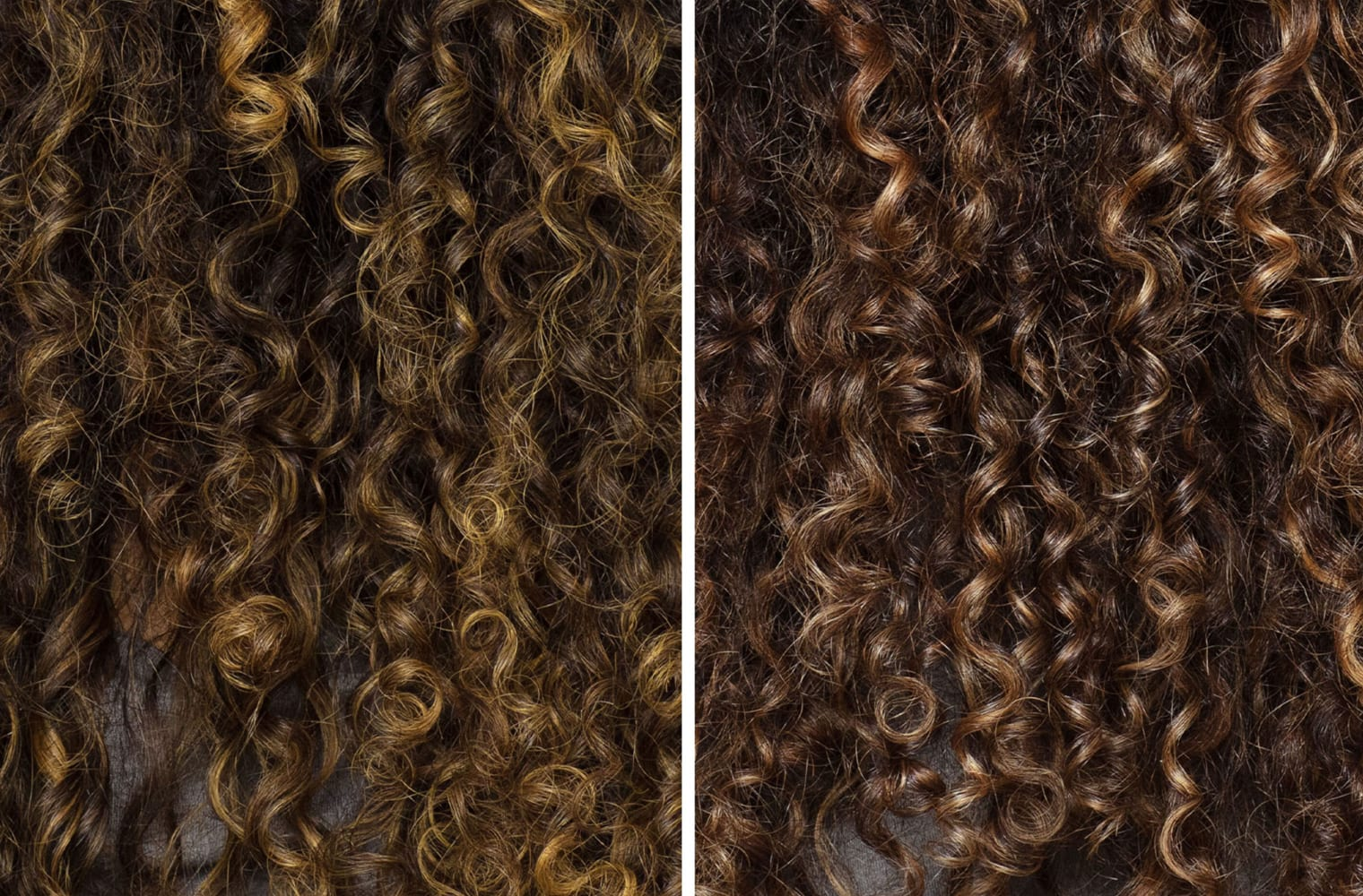 split screen before and after shots of curly hair