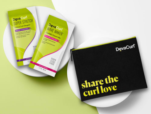 "2 styler samples and a ""share the curl love"" black pouch"