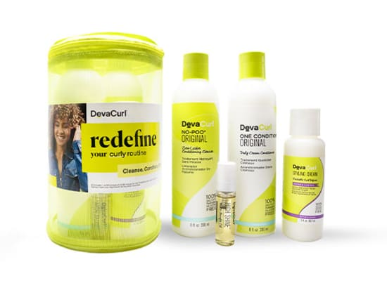 curly routine kit travel case and products outside case