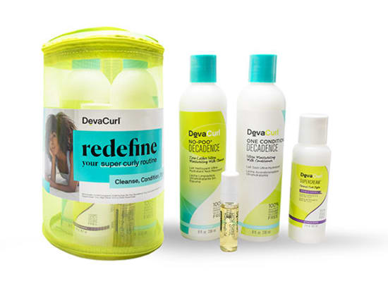 super curly routine kit travel case and products outside case