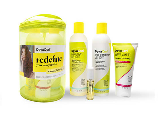 wavy routine kit travel case and products outside case