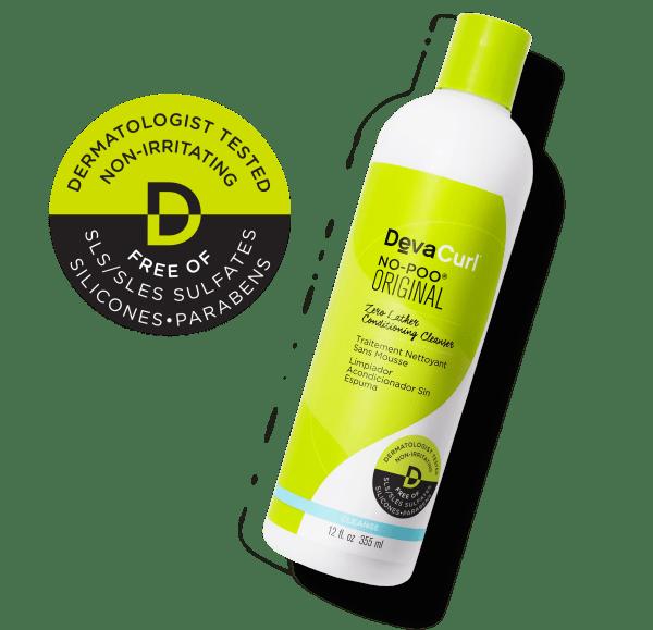Dermatologist tested sticker and No-Poo Original bottle
