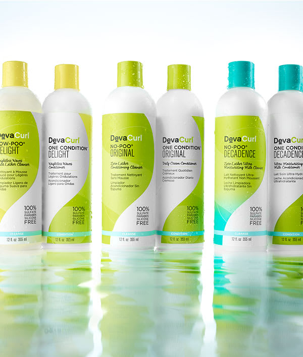 DevaCurl sulfate free cleanser and conditioner bottles 120z