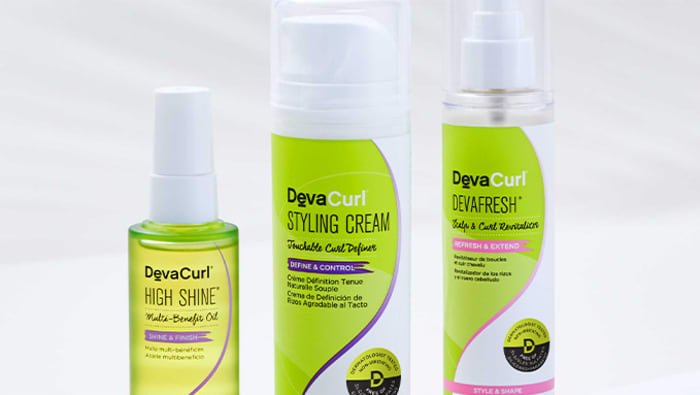 High Shine, Styling Cream and DevaFresh bottles