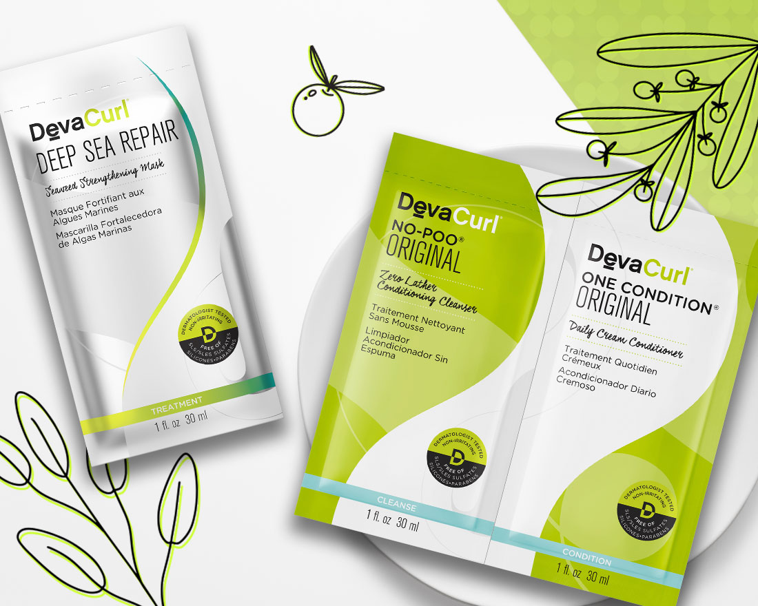 DevaCurl Deep Sea Repair and Original cleanse & Condition packettes