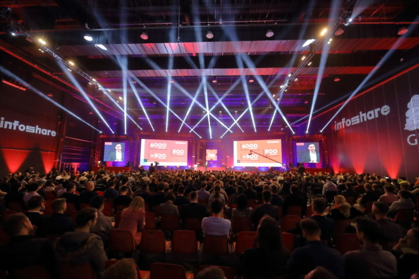 A photograph of a packed conference hall at infoshare.