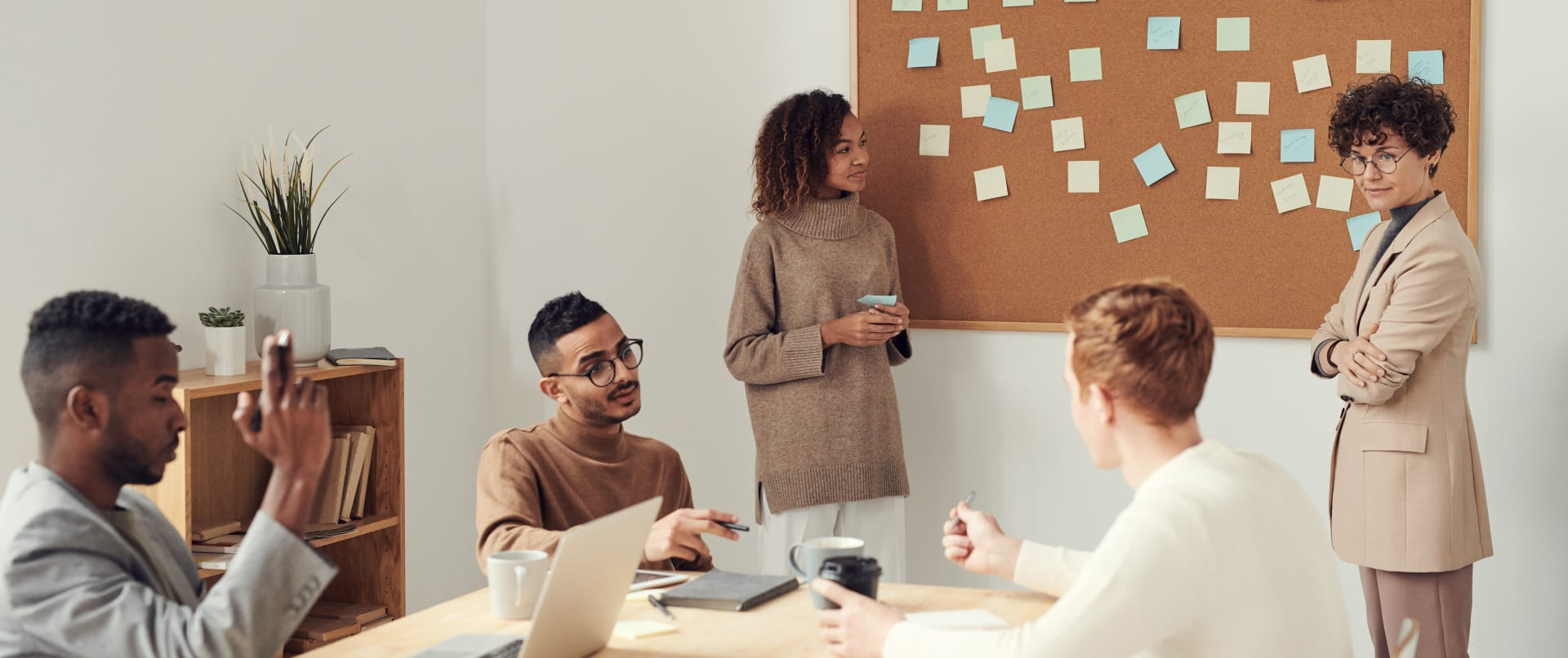A startup team working together