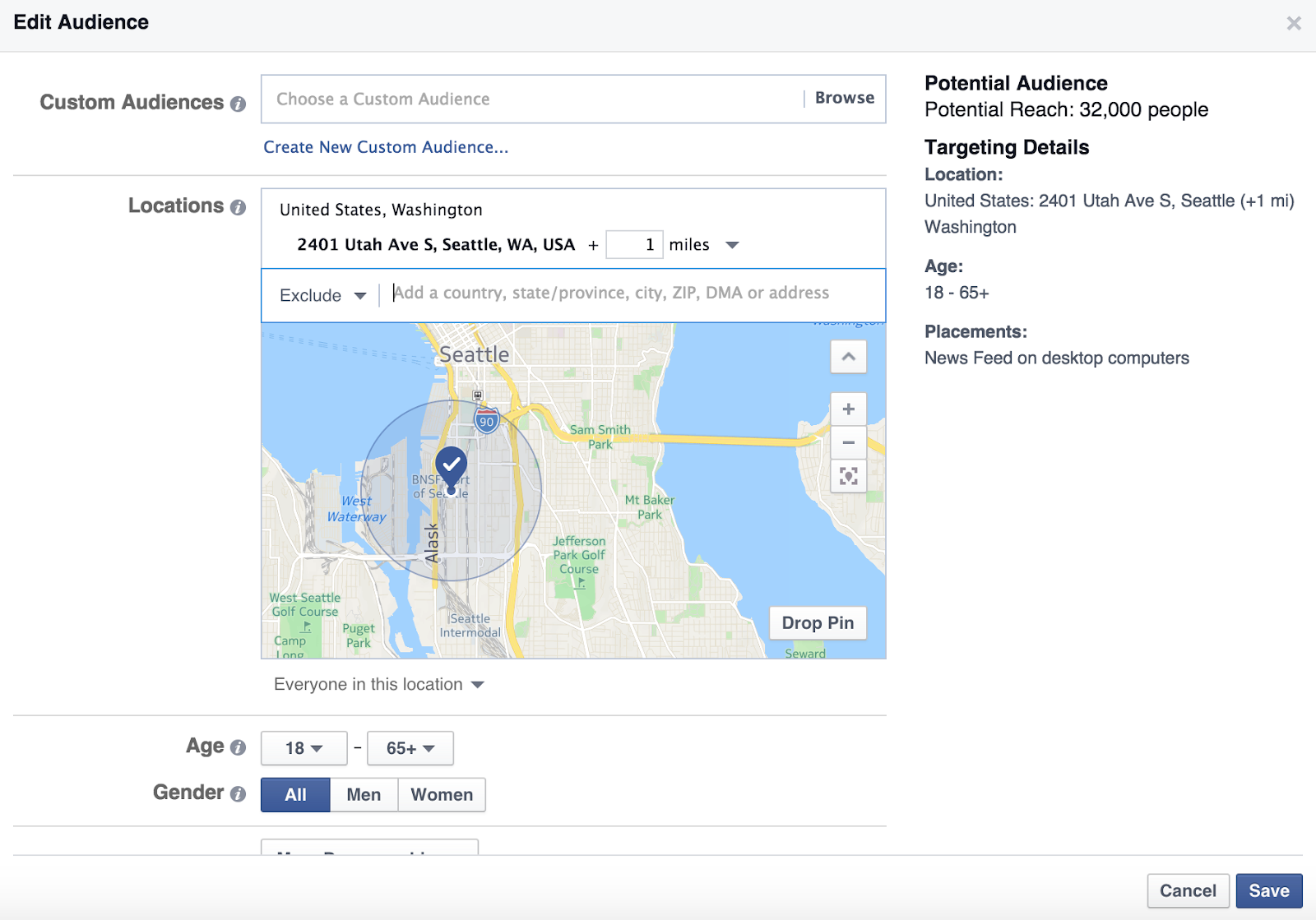 A screencapture of Facebook's ad manager tool.