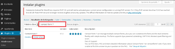Wodpress Instalar plugin Contact form 7