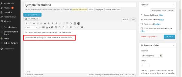 Añadir formulario wordpress