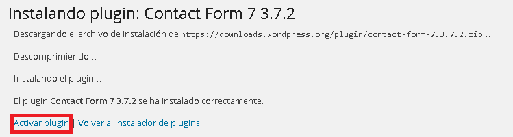 Wordpress activar plugin