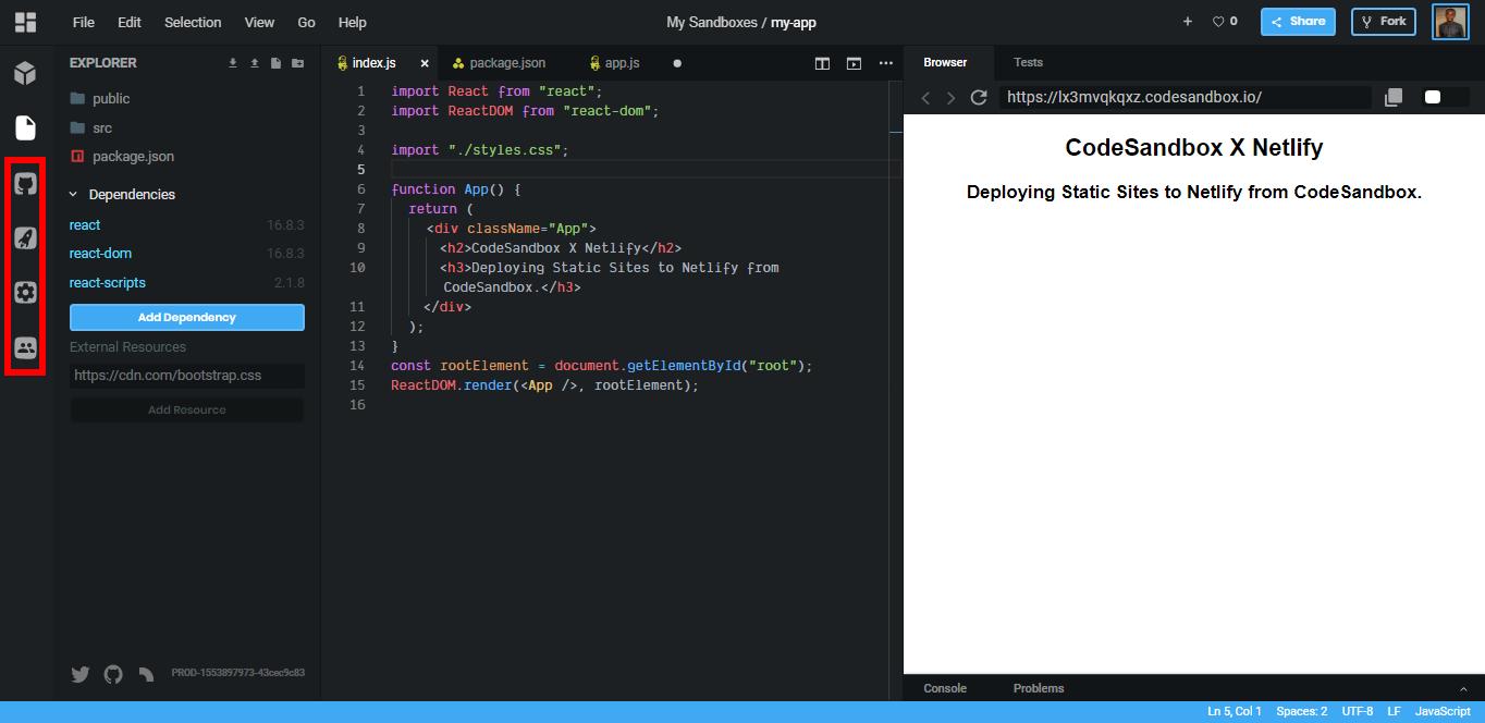 Deploying Static Sites to Netlify from CodeSandbox