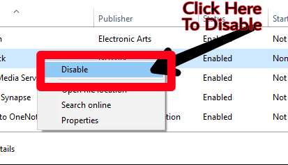 Select programme click right and disable