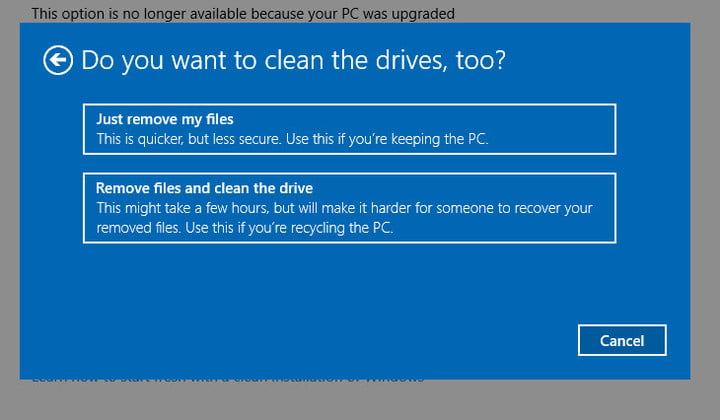 how to factory reset windows 10 without settings