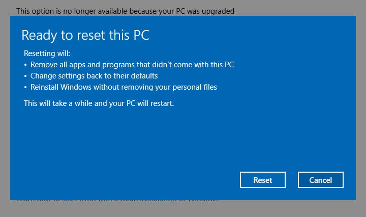 windows 10 reset this pc keep my files
