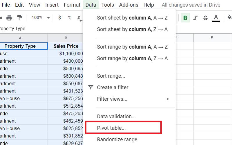 google sheets pivot table group by month