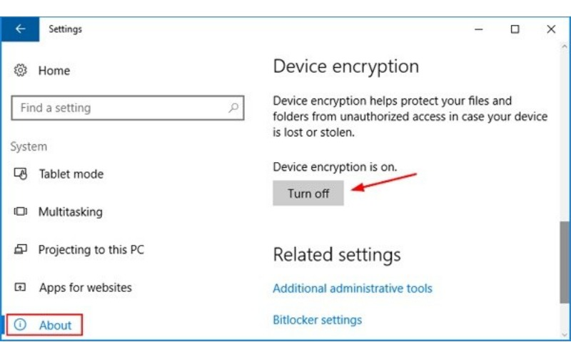how to disable bitlocker in windows 10 from bios
