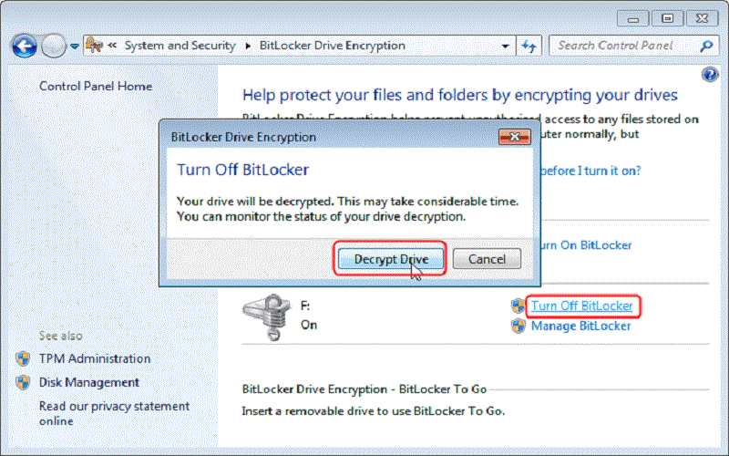 How To Remove BitLocker From USB?