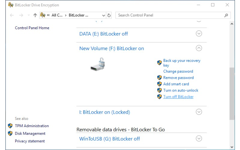 how to disable bitlocker in bios