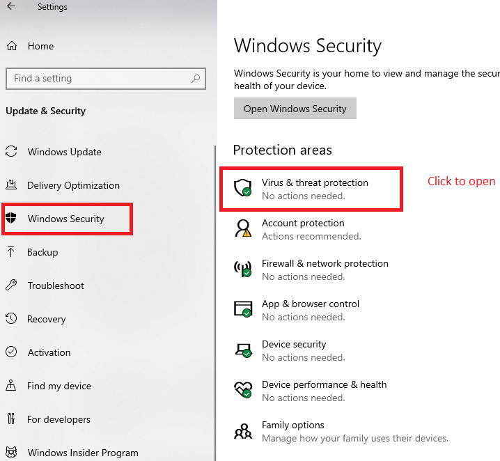 How to turn Off/ON Real Time protection in Windows 10