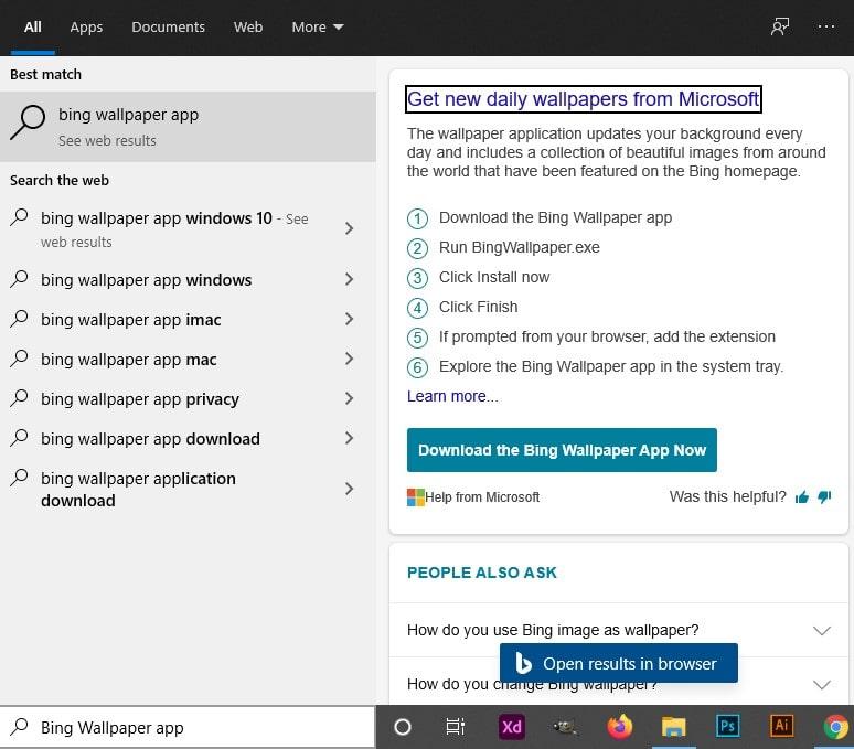 How to Set Bing Wallpaper as Windows Desktop Background