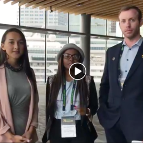 Rebecca Root hosts J&J's Phil Carroll and youth leader Tshedi Sibande at #WomenDeliver 2019.
