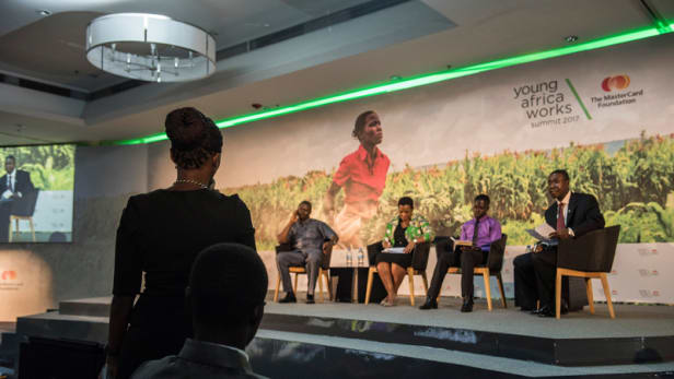 A panel session during the Young Africa Works Summit held in Kigali, Rwanda. Photo by: The MasterCard Foundation
