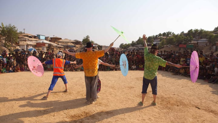 A network of clowns brings laughter to Rohingya camps