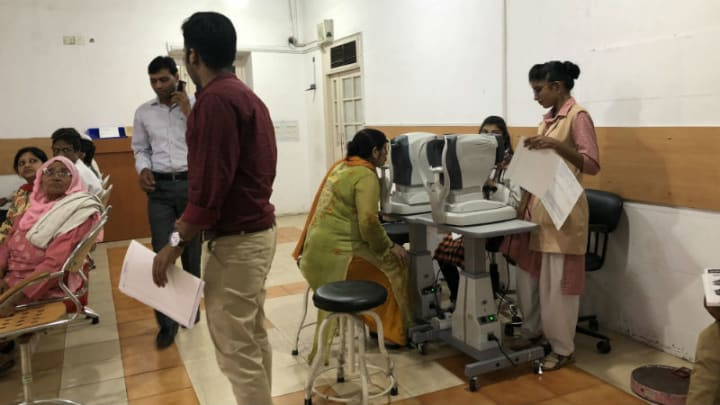 A Patient Receives Preliminary Exam At Dr Shroffs Charity Eye Hospital In New Delhi India Photo By Adva Saldinger Devex
