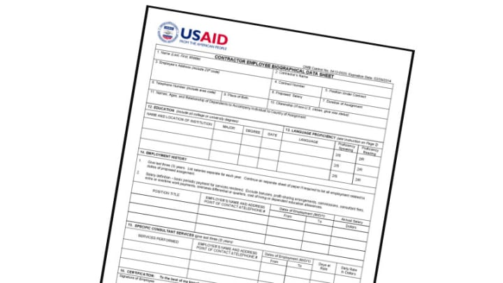usaid contractor employee biographical data sheet