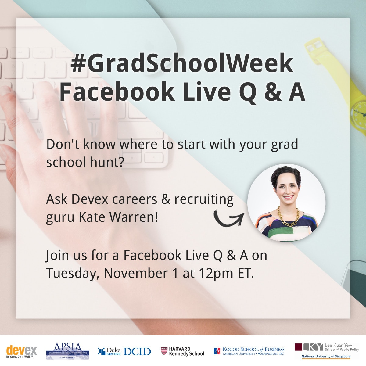 Grad school week graphics fb live  1200x1200 v3