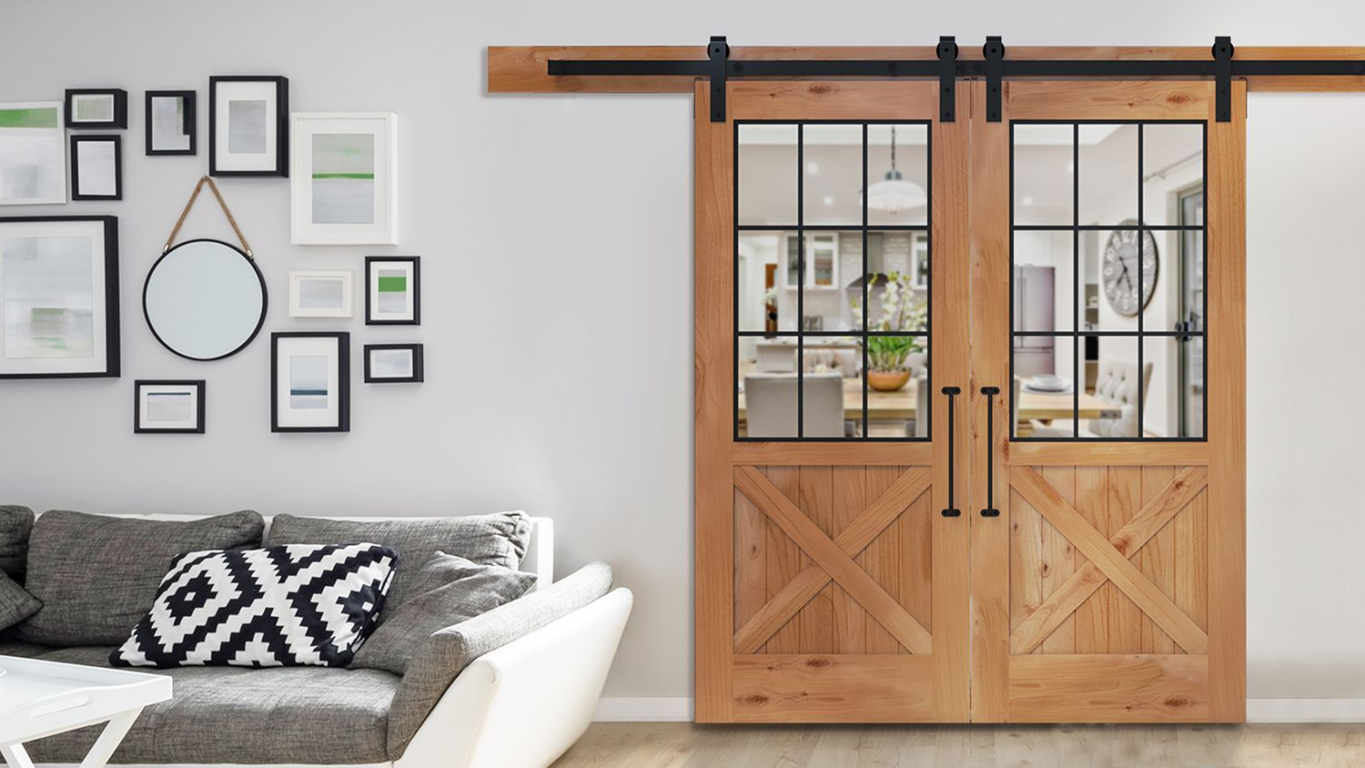 wooden doors for rustica hardware in a living room
