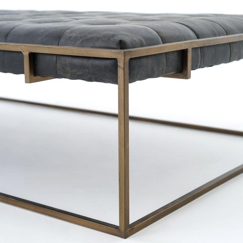 Oxford Rectangular Leather Ottoman Coffee Table | Rustica
