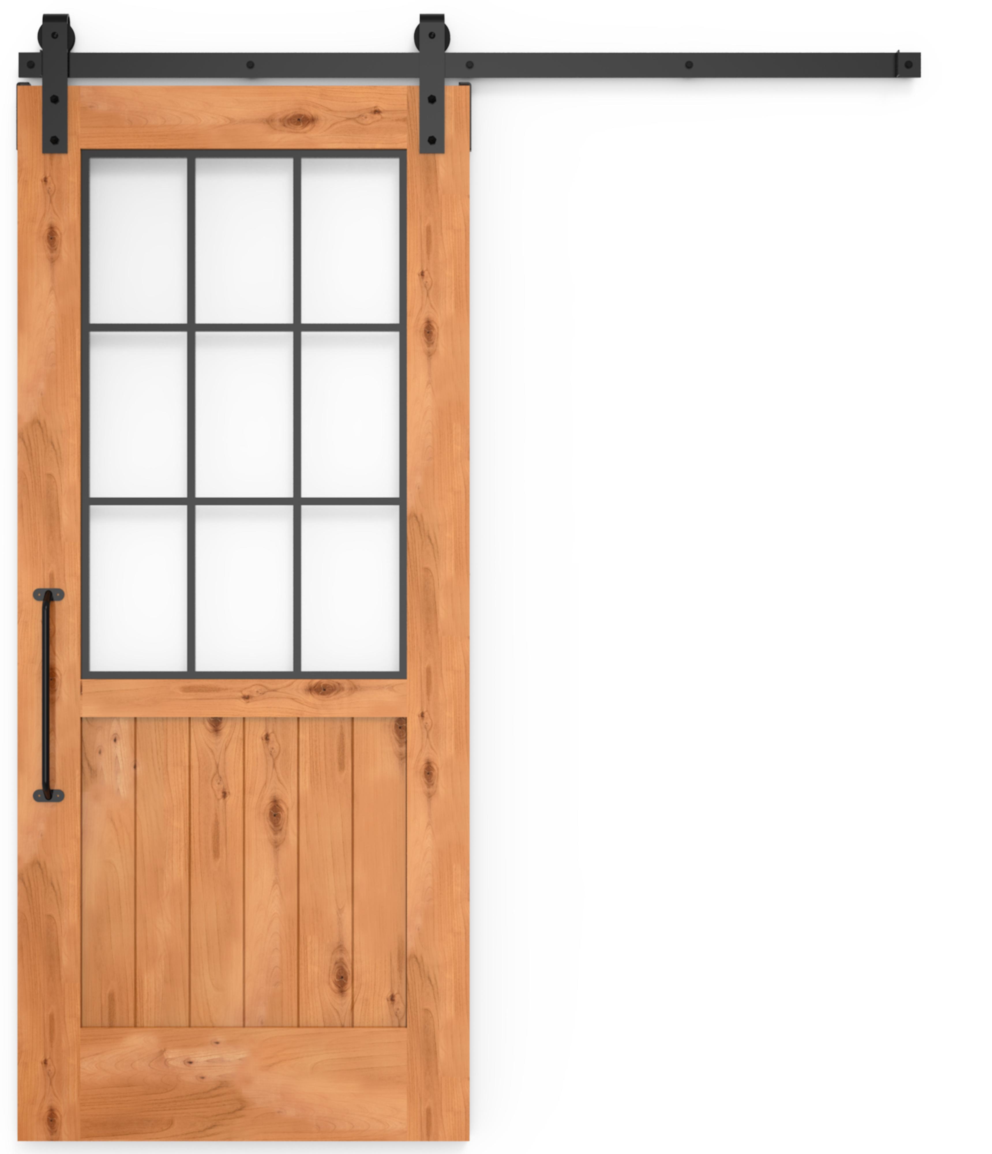 Farmhouse Sliding Door Wall: Farmhouse French Barn Door Half Glass