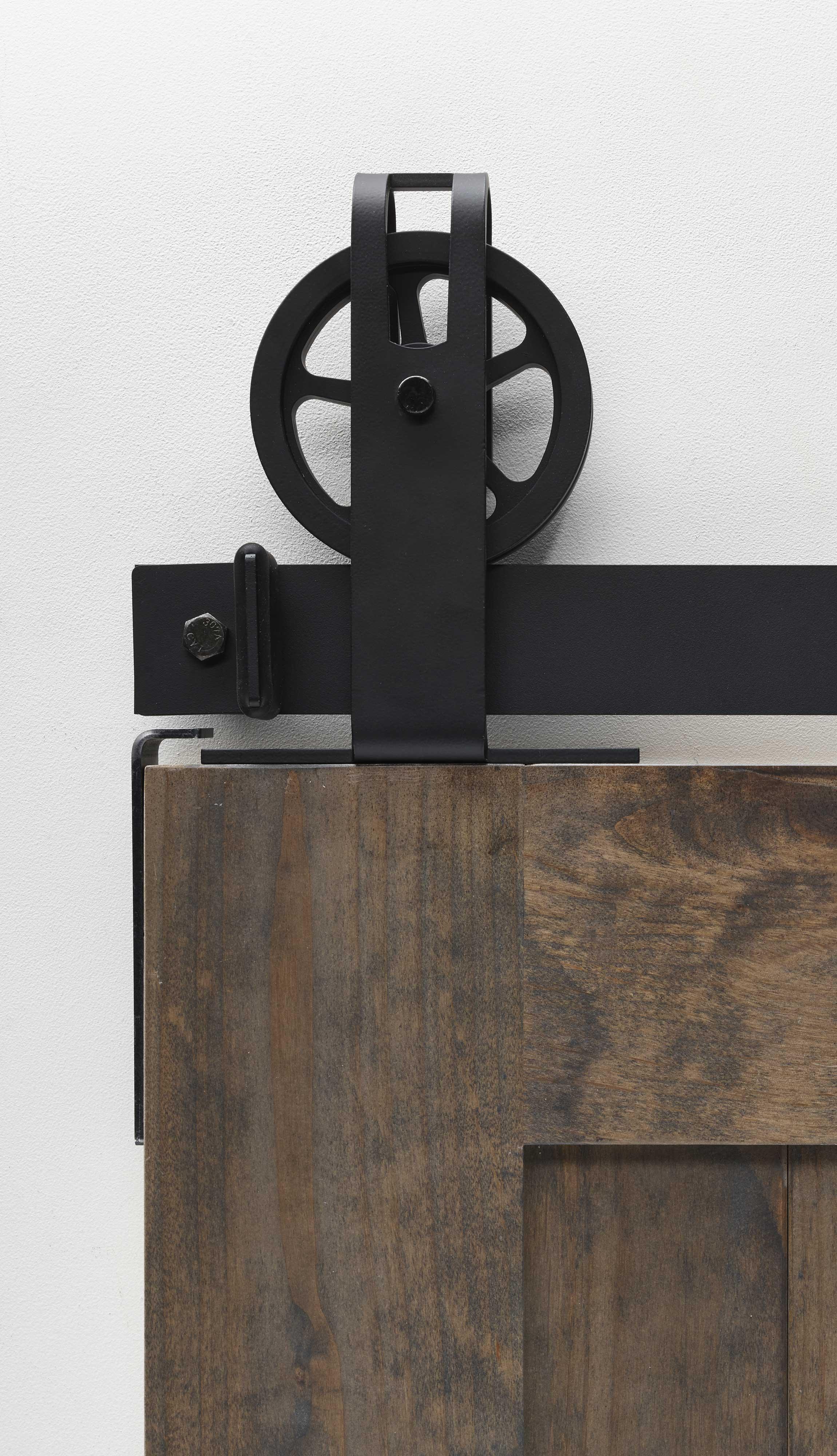 Top Mount Spoke Wheel Garrick Barn Door Hardware Kit