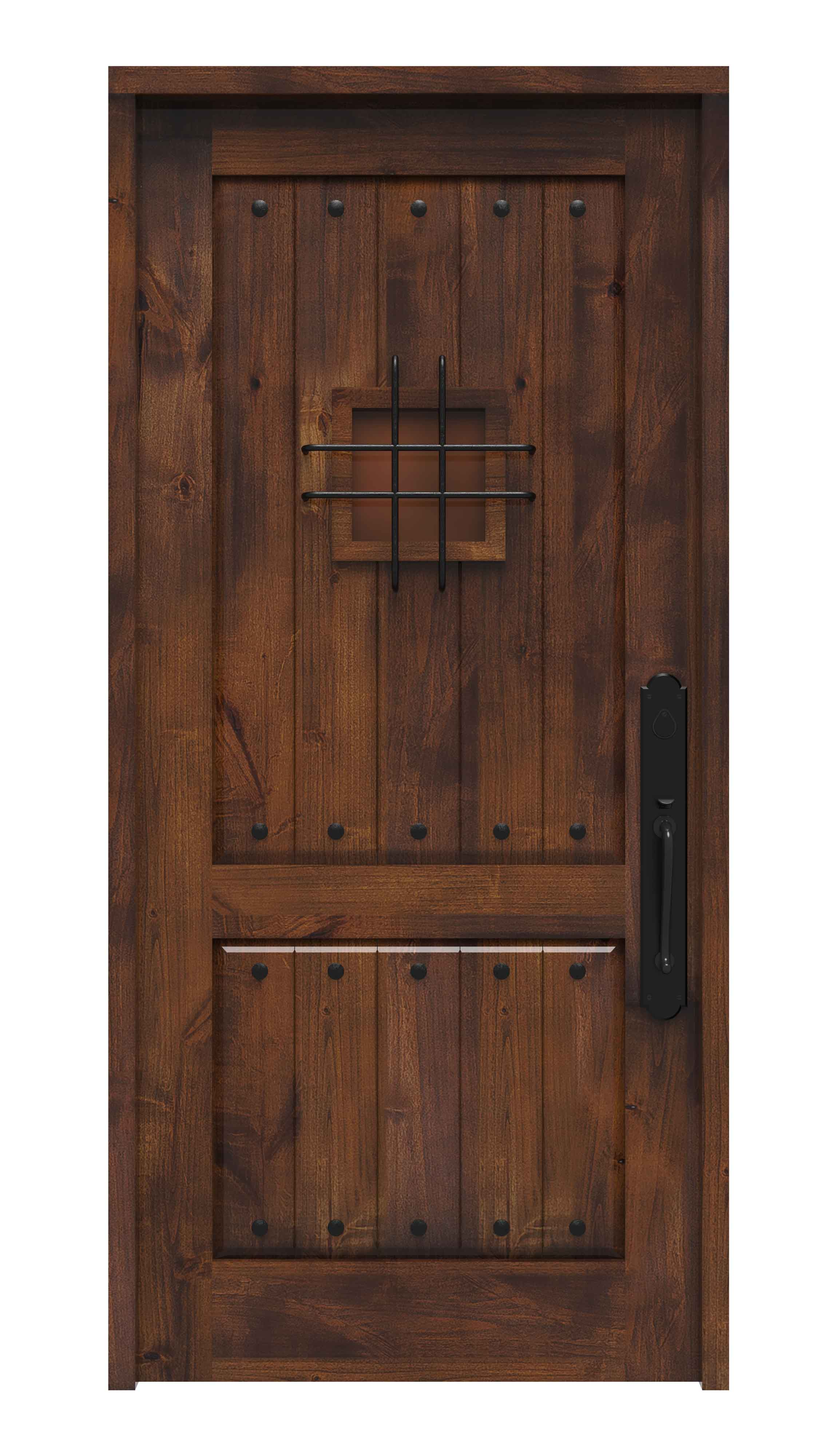 Spanish Style Front Door With Speakeasy Rustica Hardware