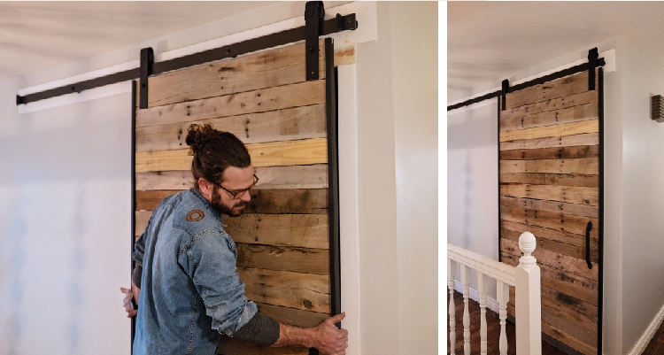 use team work to secure your barn door into place